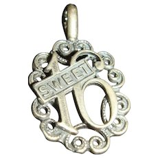 Sterling Silver Sweet 16 Charm or Pendant Filigree Ruffled Border