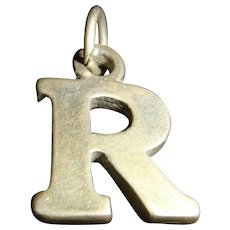 Vintage Sterling Silver Initial Letter R Charm Marked SJC 925