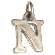 Vintage Sterling Silver Initial Letter N Charm Marked SJC 925
