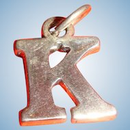 Vintage Sterling Silver Initial Letter K Charm Marked SJC 925