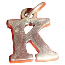 Vintage Sterling Silver Initial Letter K Charm Marked SJC 925