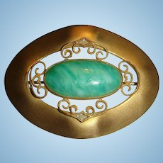 Early Art Deco Era Sash Pin Large Jade or Glass Oval Cabochon C Clasp