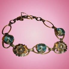 Gold Filled Over Sterling Silver Bracelet Topaz Aqua Blue Stones, Flowers and Links