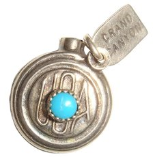 Sterling Silver and Turquoise USA Grand Canyon Canteen Charm