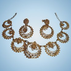 Boxed Set Topezio Filigree Gold Gilt Flower and Beads Necklace, Dangle Earrings, Portugal