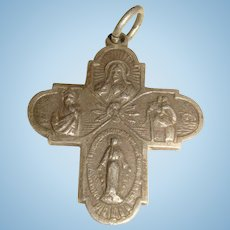 Sterling Silver Four Way Catholic Miraculous Medal Charm Mary, Jesus, St. Christopher , Joseph