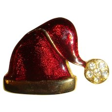 Enameled Rhinestone Christmas Santa's Hat Pin Brooch