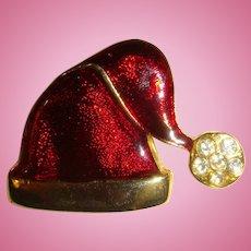 Enameled Rhinestone Christmas Santa's Hat Pin Brooch