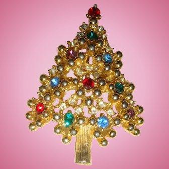 Vintage Eisenberg Reticulated Christmas Tree Brooch Rhinestones and Gold Tone Beaded Balls