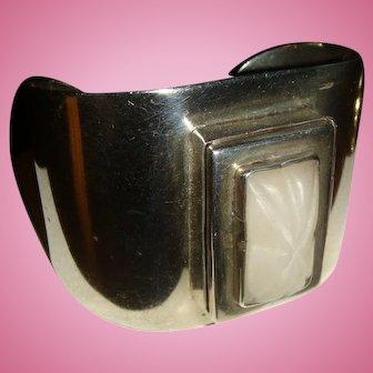 Early Wide Mexico Silver Poison Bracelet, Vinaigrette, Locket , 78.9 Grams, Sterling