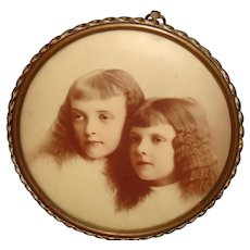 Circular Framed Celluloid Photo Unmistakable Sisters Crimped Hair Columbia Portrait Co.