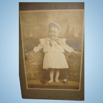 Adorable Little Guy Kicks Shoes Off for Picture Cabinet Card Charles Speer Johnson, Memphis