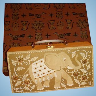 People's Choice Enid Collins Original Box Jeweled Elephant Coin Flowers, Texas Designer Wooden Purse