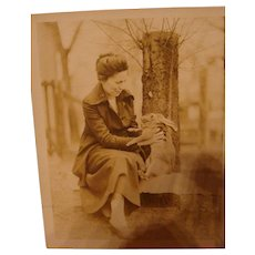 Early Sepia Photo of a Lady with Her Pet Easter Bunny Rabbit