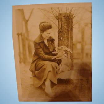 Early Sepia Photo of a Lady with Her Pet Bunny Rabbit