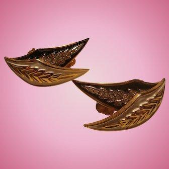 Large Jomaz Joseph Mazer Enamel Rhinestone Clip Earrings Matching Brooch Listed