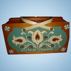 Vintage Enid Collins Wooden Dutch Treat Jeweled Tulips Box Bag Purse Top Slide