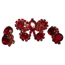 Sparkling Red Rhinestone Butterfly Brooch and Earrings Designer Quality Unsigned Beauty Demi Parure