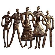 Laurel Burch Figural Ethnic People Pin Brooch Human Beings Series