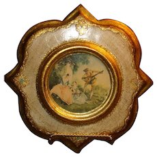 Unique Shape Florentine Italy Wood Gold Gesso Romantic Era Picture Lancret, Music Lesson