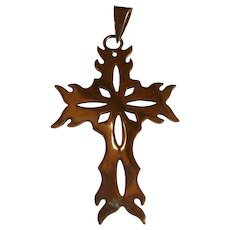 Long Reticulated Open Work Taxco Mexico Snowflake Sterling Silver Cross Pendant Rugged Design