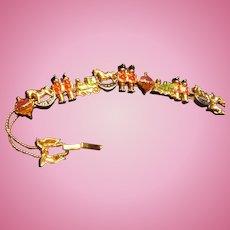 Vintage Christmas Enamel and Gold Tone Slide Bracelet Marked S. P.