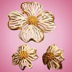 Crown Trifari Enameled Gold Tone Reticulated Dogwood Brooch and Earrings