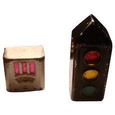 Primitive Germany Metal Radio and Traffic Signal Stop Light Pencil Sharpeners