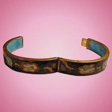 Vivid Colors Early Cloisonne Heavy Enamel Hinged Bracelet