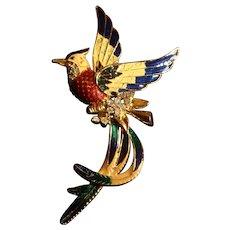 Runway Huge 6 Inch Enameled Rhinestones Exotic Bird Brooch