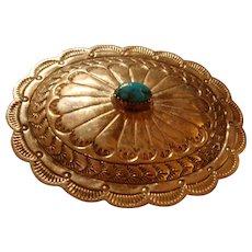 Navajo Sterling Bezel Set Turquoise Intricately Stamped Belt Buckle