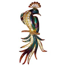 Gorgeous and Huge Enameled and Rhinestone Exotic Bird Peacock Brooch 5 3/4 Inches Long