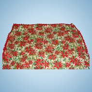 Vintage 1950's-1960's Christmas Tablecloth Crisp Colorful Textile Collectible Poinsettias and Evergreens