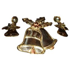 Large Mexico Silver, Gold and Copper Colored Bells Slide Pendant, Pin,  Dangle Earrings
