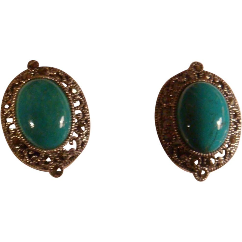 7d9a60e2b Judith Jack Omega Back Sterling Silver Turquoise and Marcasite : The Loft  Antiques | Ruby Lane