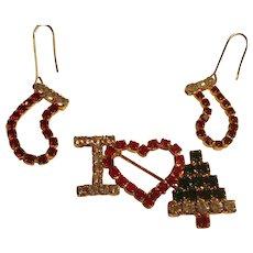 Vintage I Love Christmas Rhinestones Pin and Earrings,  Stockings, Tree, Heart