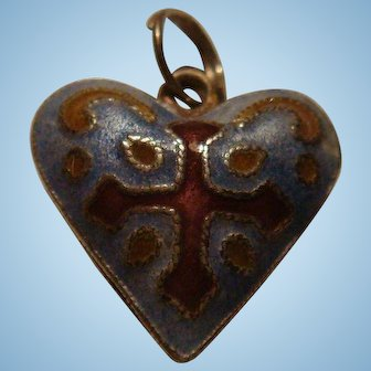 Double Sided Enameled Silver Puffy Heart Charm with Cross
