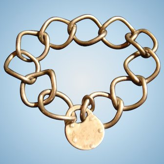 Very Old Sterling Silver Padlock  Charm on Curb 11 Link Bracelet