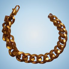 Anne Klein Modified Figaro Chain Bracelet in Satin Gold Finish