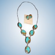 Stunning Native American Navajo Benjamin Piaso Royston Turquoise Necklace Earrings