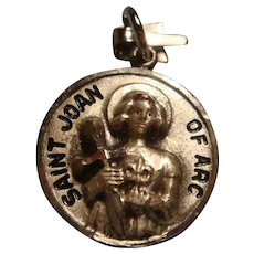 Sterling Silver Saint Joan of Arc Medallion Charm Pendant Charm High Relief Original Box