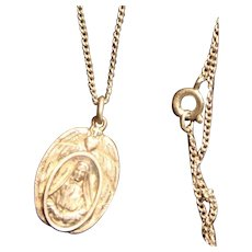 Sterling Silver Saint Frances Xavier Cabrini Religious Medal Necklace