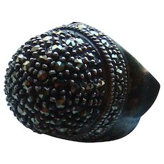 Extra Tall Dome Sterling Silver Marcasite or Black Spinel Statement Ring P