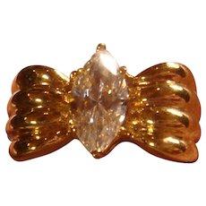 Sterling Gold Vermeil Faux Diamond Cubic Zirconia Solitaire Engagement Statement Ring