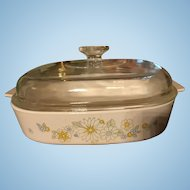 Excellent Pyrex Corning Ware Large Covered Casserole Floral Bouquet Daisies