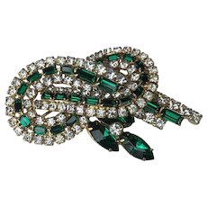 Sparkling Baguettes, Navettes, Emerald Cut and Round Rhinestone Brooch Runway Quality Vintage