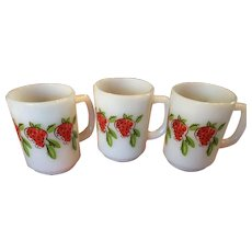 3 Anchor Hocking Fire King Strawberry D Handle Mugs