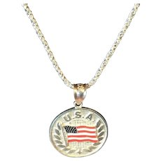 Sterling Silver Enameled U. S. A. Laurel Wreath Waving American Flag Necklace Charm Pendant