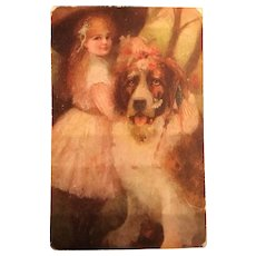 1909 Lithograph Postcard Huge St. Bernard Dog, American Flag, Little Girl Red With Hair