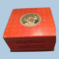 Three Flowers Richard Hudnut Face Powder Box New York, Paris Art Deco Graphics